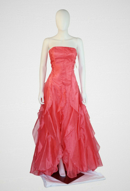 Jessica McClintock Coral Gown Cascade Ruffle Layers, Laced Up Back & Sweep Train