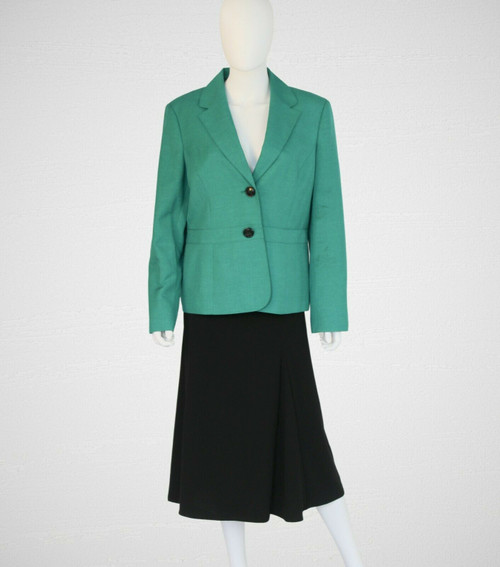 Emerald Green Suit Jacket, Tailored Waist, Black Label By Evan Picone, Size 14