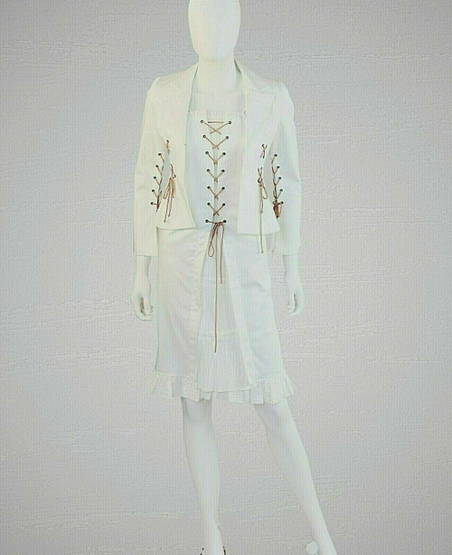 Western Style White Pencil Dress & Jacket Leather Lacing, Junior Fit