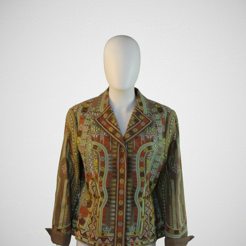 Embroidered Earth Toned Cotton Jacket, Coldwater Creek, Southwest Design