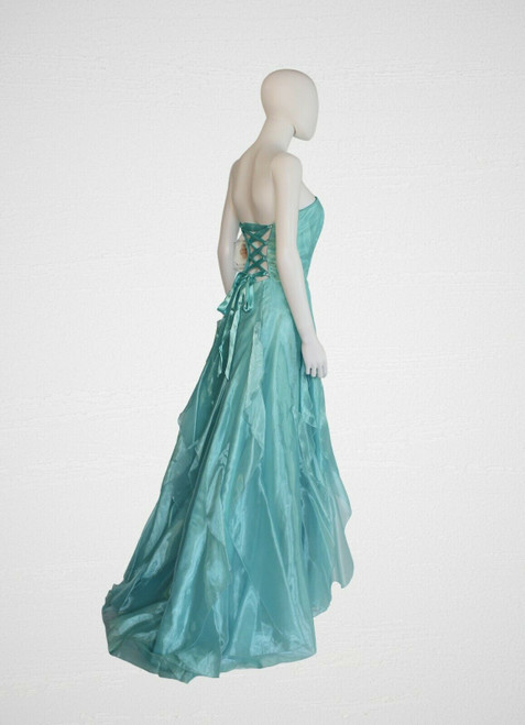 Jessica McClintock Turquoise Strapless Gown & Sweep Train, Bridesmaids Dress