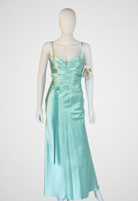 Jessica McClintock Ruched Fitted Bodice Turquoise Satin Long Dress
