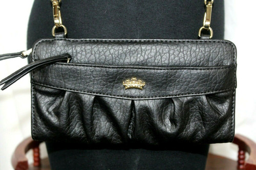 Juicy Couture Black Leather Mini Crossbody Bag Wallet Purse Faux Leather