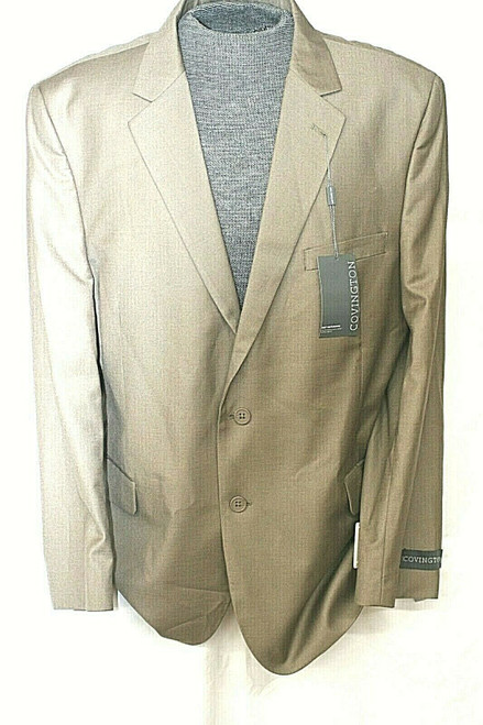 NWT Covington Men's Two-Button Polyester Blend Suit Jacket In Tan Sz. 48 Regular