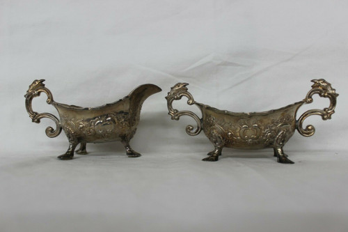 Antique Silver Plated Cream And Sugar Holders