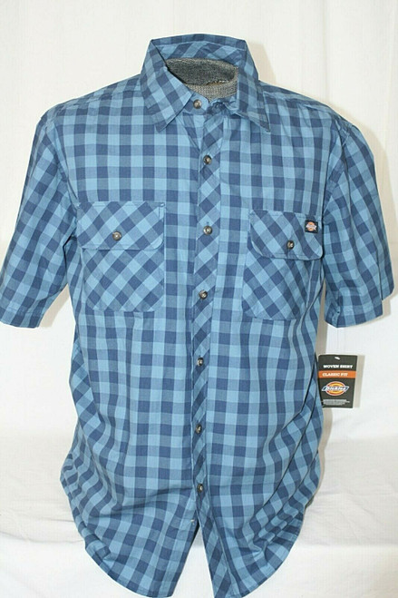 NWT Dickie's Button Front Shirt Classic Fit Short Sleeved Men's Plaid Sz. L