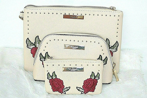 NIB Dune London Studded Rose Wristlet , Clutch & Coin Pouch  Set In Nude