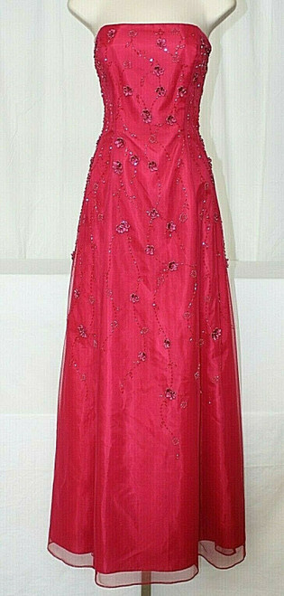 NWT Women's Morgan & Co. Dk. Rose Colored Strapless Lace Back Prom Dress Sz. 7/8