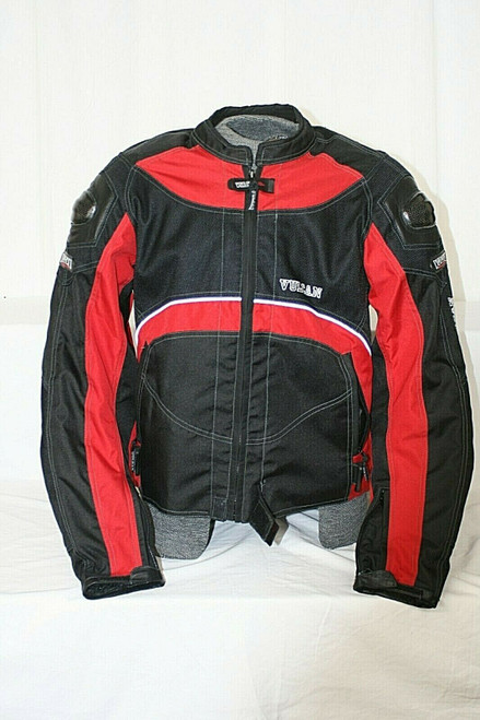Pre-Owned Men's Vulcan Motorcycle Gear Black/Red Riding Jacket W/ Pads Sz. XL