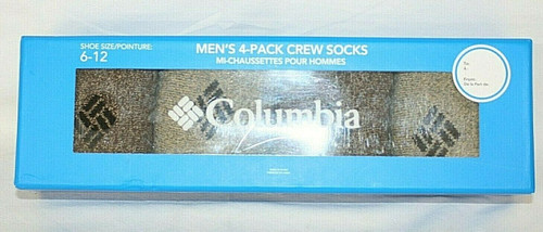 NIP Men's Columbia 4 Pack Crew Socks In Brown/Khaki Sz. 6-12
