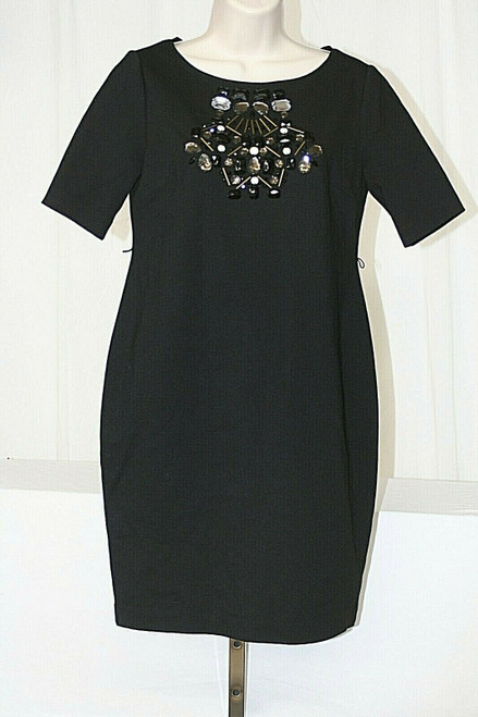 A Pea In The Pod By Donna Morgan Black Jeweled Neck Sort Sleeved Dress Sz. S