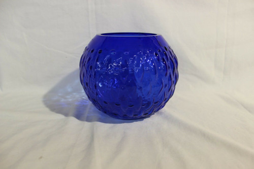 "Preowned Fenton cobalt blue ball vase 5"" High"