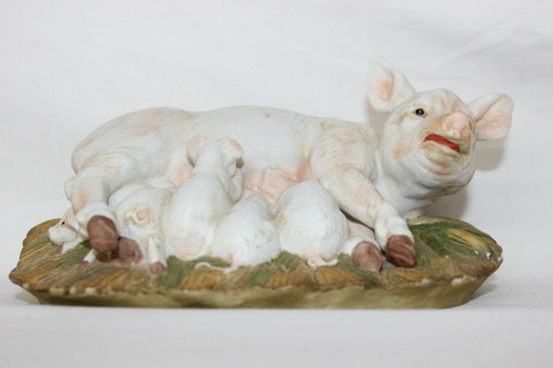 1985 Masterpiece by HOMCO Pig with Piglets  Porcelain Figurine
