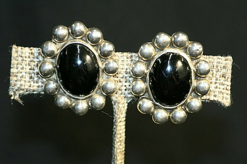 Vintage Mexico 925 Silver Marked TS-56 Clip Earrings W/ Black Glass Stones
