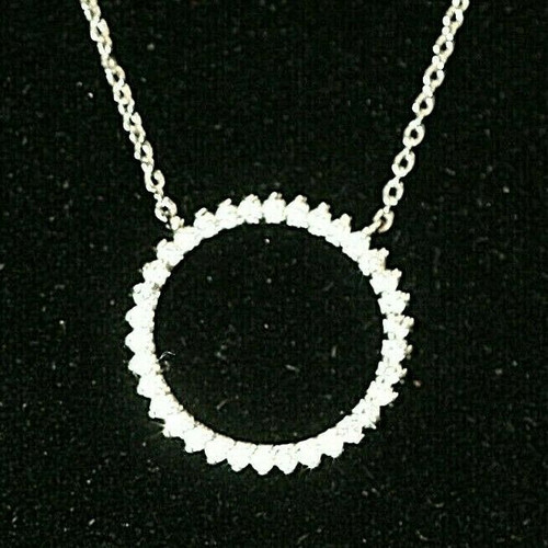 """Pre-Owned Women's Silver Infinity Circle W/ Clear Stones Pendant Necklace 18"""""""