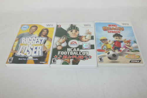 Assorted 3 Wii Games, Big Beach Sports, NCAA Football 09,The Biggest Loser