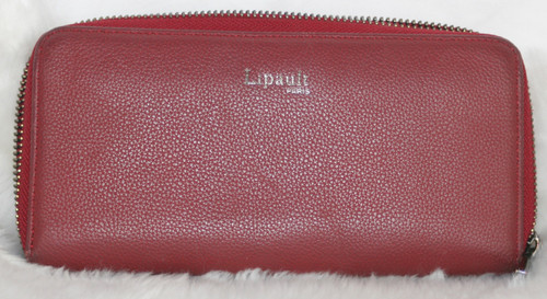 Pre-Owned Lipault Burgundy Leather Zip Around Wallet