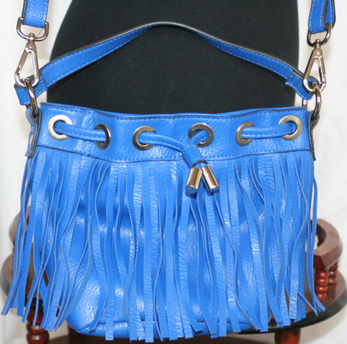 Pre-Owned SR2 Blue Fringed Faux Leather Purse