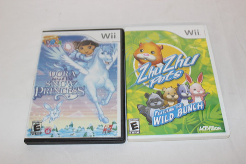 Preowned 2 Wii Games Dora Saves The Snow Princess & Zhu Zhu Featuring the Wild B