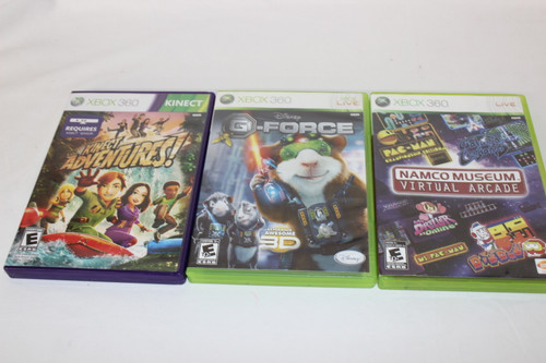 Preowned XBOX 360 Games: G-Force, Namco Museum Virtual Arcade & Kinect Adventure