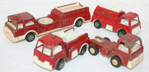 Vintage Lot Of 4 Tootsie Toy Trucks ~All are Fire  Vehicle Types