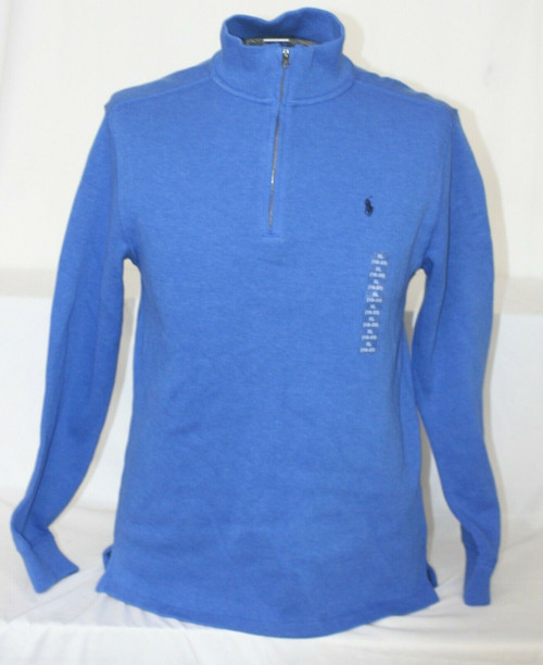 NWT Men's Polo Ralph Lauren !/2 Zip Long Sleeved Sweater In Dock  Blue Sz. XL