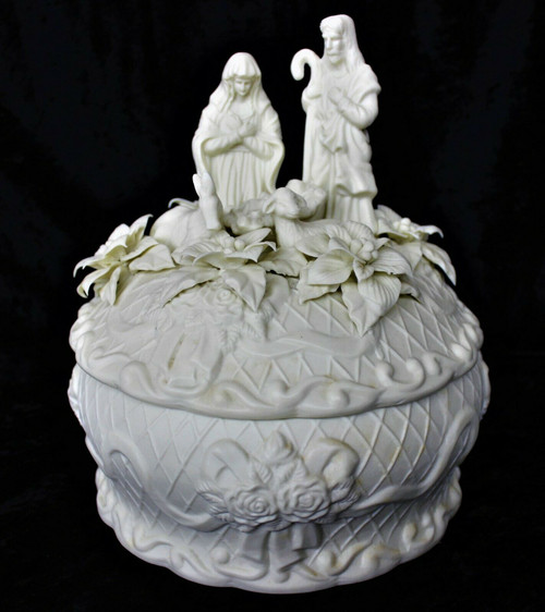 Large Covered Bowl With Nativity Scene Lid