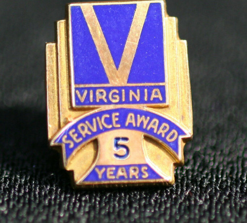 Pre-Owned 14 K Gold/Blue Enamel Virginia Service  5 Year Pin  10.5 mm x 14 mm