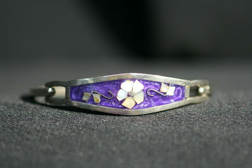 Abalone Shell Flower & Purple Enamel Alpaca Mexico Silver Hinged Bangle Bracelet