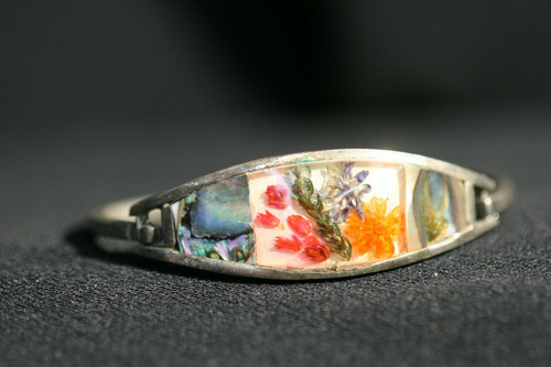 Abalone Shell Dried Flowers in Resin Alpaca Silver Hinged Bangle Bracelet