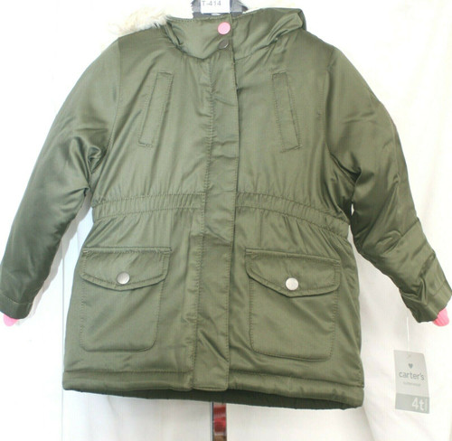 NWT Carters Puff Coat in Olive/Faux Fur Sz. Toddler 4T