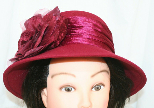 NWT Tuscany Fine Millinery Wine Colored Church Hat W/ Large Flower  21.5""