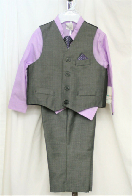 NWT Starting Out Infant Boy's Grey/Purple 3 Piece suit w/ Tie Sz.24 Months
