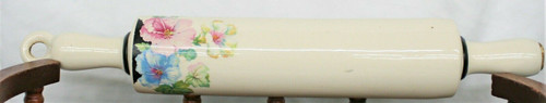 Harker Ware Ceramic Floral Design Rolling Pin Hollow Wooden Stopper