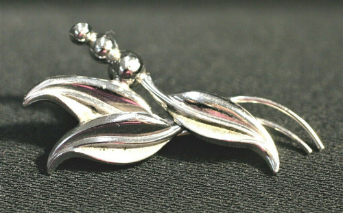 Pre-Owned Sterling Floral Brooch W/ Leaves & 3 Buds