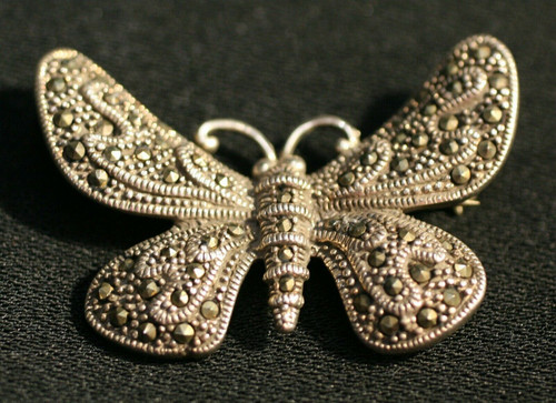 Vintage 925 Butterfly Brooch W/ Marcasite Stones