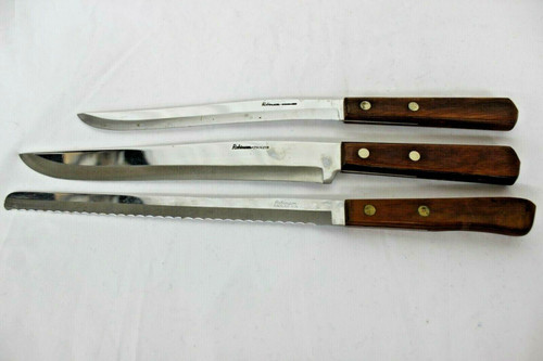 Vintage 3 Robinson Stainless Steel Blade Kitchen Knife W/ Wood Handle