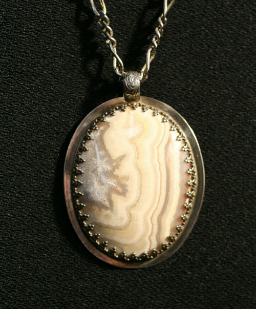 """Pre-Owned 925 Sterling Silver White Jasper ? Pendant Necklace 20"""""""