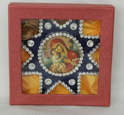 Preowned Monastery Icons Ornaments, Virgin of Tenderness Enameled Ornament A19
