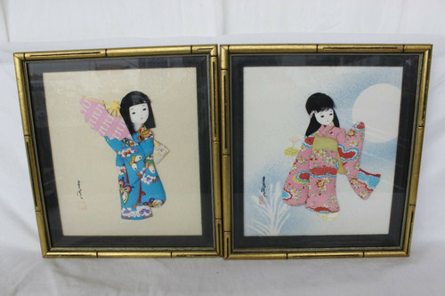 2 Picture Frame 3D Fabric Wall Art Vintage Japanese Girl With Traditional Kimono