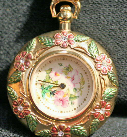 Franklin Mint Hummingbird Pendant Watch With Chain Necklace 27.5""