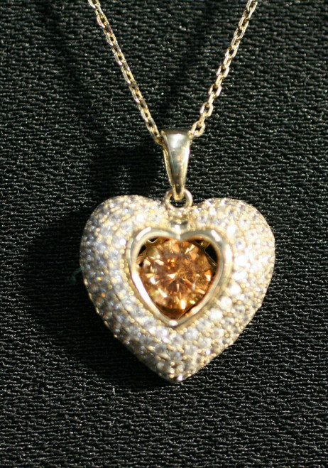 """Pre-Owned 925 GM Heart Pendant W/ Yellow/Clear Stones Necklace 18"""""""