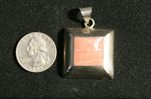 Vintage Mexico 925 Sterling Silver Pendant With Coral Colored Enamel