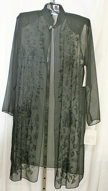 Vintage Women's Candlelight & Champagne Blk. Beaded Duster W/ One Button Sz. A-6