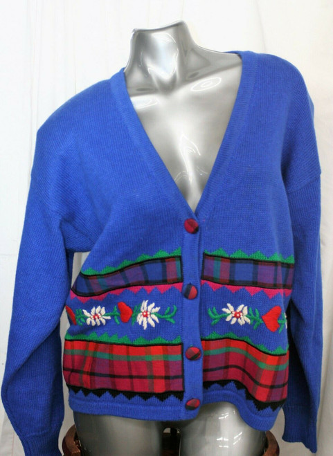 Vintage Women's NWT P'Galli Designs 4 Button Decorated Front Sweater Sz. L