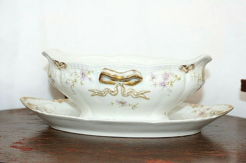 Theodore Haviland Limoges France Gravy Boat Attached Underplate Purple Flowers
