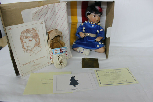 """Little Fawn's Papoose"" Porcelain Doll Theroux Georgetown 1994 w/COA"