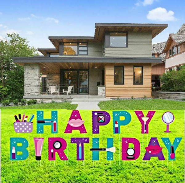 """Happy Birthday Yard Signs,15 Pieces,15"""" Makeup-Themed Decorative With Stakes"""