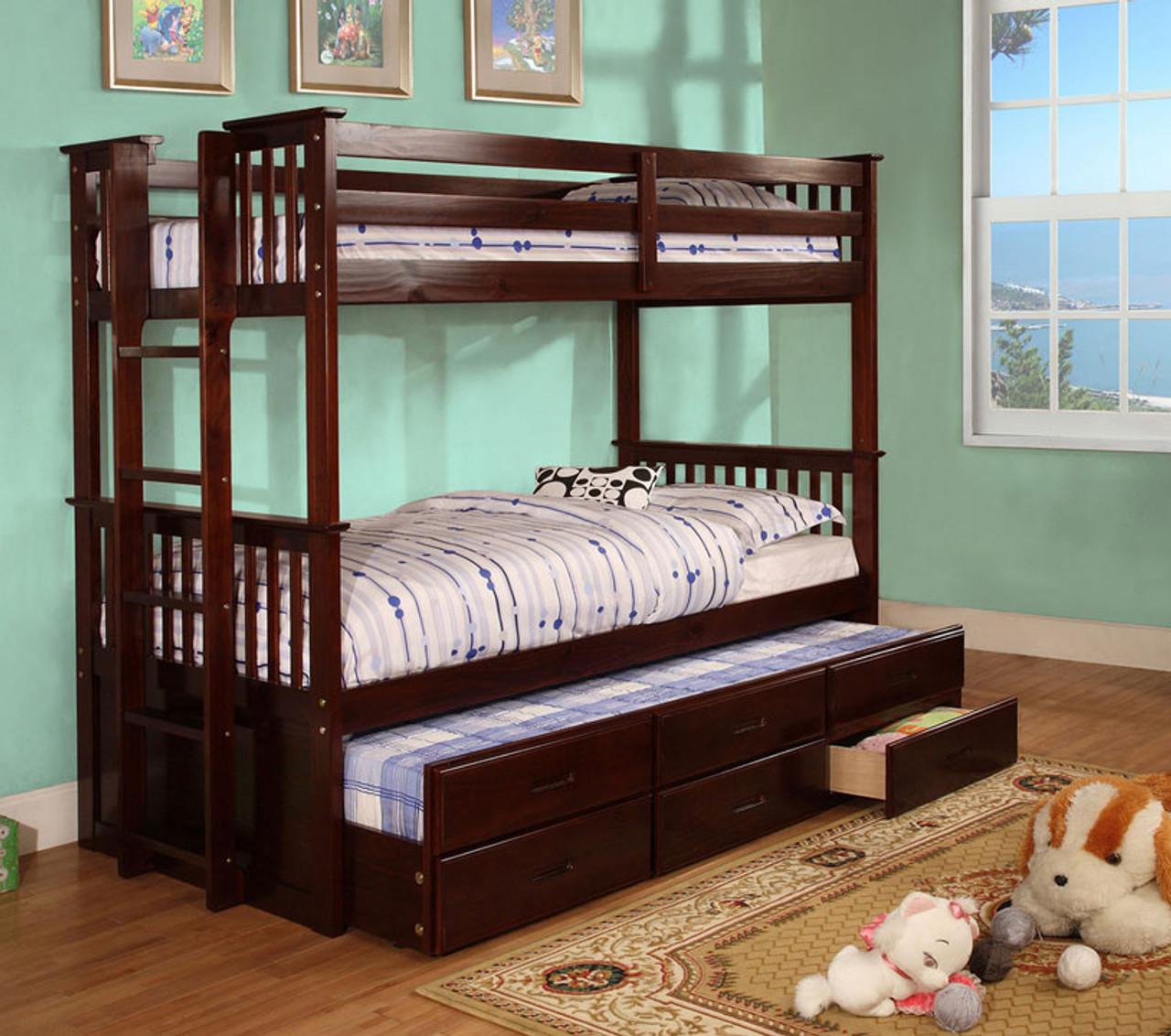 classic trundle bunk bed furniture of america. Black Bedroom Furniture Sets. Home Design Ideas
