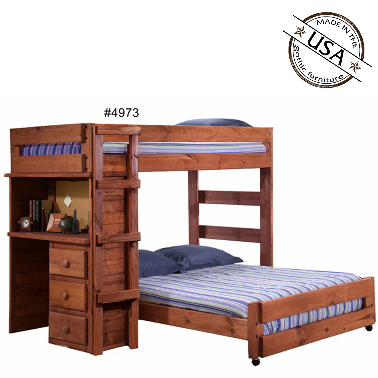Picture of: Twin Full Loft Bed With Desk Solid Pine Pine Crafter Furniture